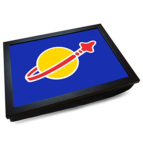 Deluxe Cushioned Lap Tray | Classic Space Logo (Blue) | Wooden Frame | Bean Bag Cushion Base | #DP