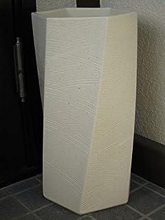 【陶器傘立て】【日本製】【信楽焼】 白ひねり 六角 傘立て