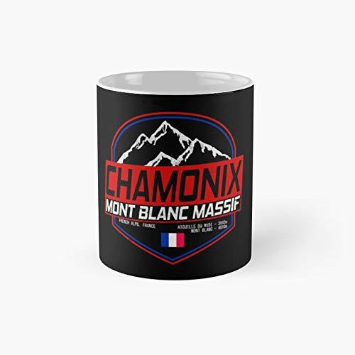 Taza clásica de esquí retro Chamonix Mont Blanc Francia Es