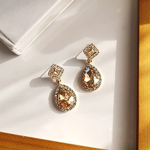 Korean Simple Champagne Water Drop Crystal Stone Clip on Earrings Luxury Retro Shinny Rhinestone Clip Earrings No Piercing