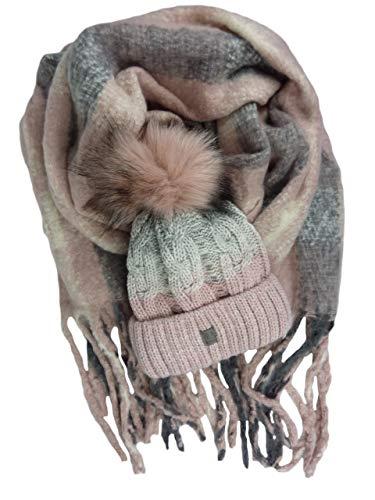 2 teiliges Damen und Herren Winterset Schal und Mütze Zopfmuster großer Pompon Geschenkset rosa rose pink grau Mützenset weicher Winter-Schal XXL mit Fransen & warme Wintermütze mit Fellbommel