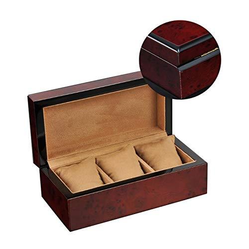 GYMEIJYG Caja De Almacenamiento De Reloj 3 Ranuras Caja De Reloj De Madera Caja De Reloj para Hombres Almohada De Reloj Extraíble para Guardar Relojes (Color : Red, Size : 22x11x8cm)