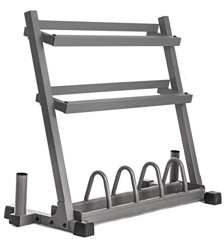 XMark All-in-One Dumbbell Rack, Plate Weight Storage and Dual Vertical Bar Holder, Patented Design
