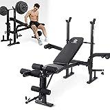 KZKR Banc de Musculation Banc d'entraînement Multi-gym Sport Pliable Banc de Poussoir pour Équipement de Fitness Réglable Support de Barres pour Haltère Station à Dips