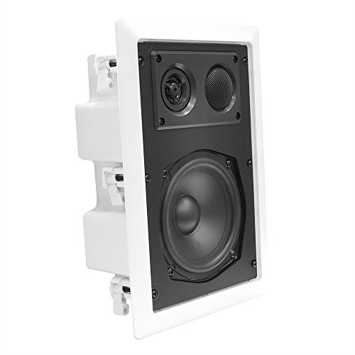 """Ceiling Wall Mount Enclosed Speaker - 400 Watt Stereo In-wall / In-ceiling 8"""" Enclosed Full Range Deep Bass Speaker System - 50Hz-20kHz Frequency Response, 4-8 Ohm, Flush Mount - Pyle PDIW87"""