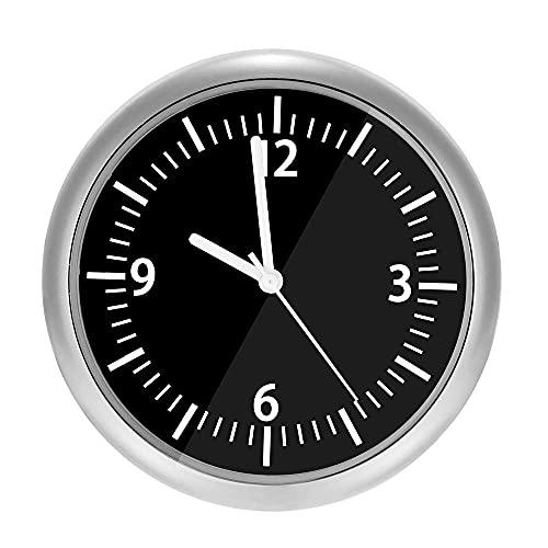 Subuss Reloj de coche de cuarzo analógico con salpicadero autoadhesivo, mini relojes de cuarzo luminosos decoración, reloj de salpicadero del coche, decoración perfecta para coche negro