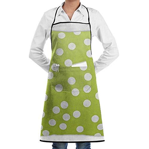 N\A Waterproof Hem Apron with Pocket 52cm 72cm, Unisex Apron Lime Green White Polka Dot