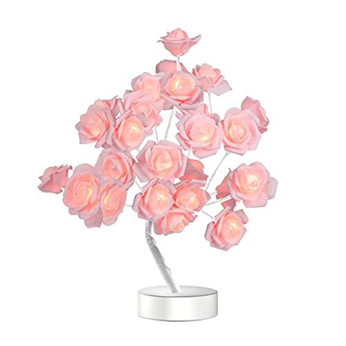 Table Lamp Rose Flower Desk Tree Lamp Gift for Girls Women Teens Home Décor for Wedding Christmas...