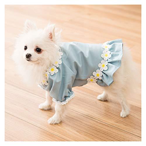 Ropa Linda del Perro del Traje de Primavera y otoo Perro Flaco Peluche del Perro de Bichon Hiromi Pequeo Result Suministros En Un Azul Princesa Animal domstico del Vestido (Color : Blue-S)