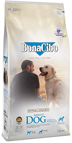 BonaCibo Adult Dog Food with Chicken and Anchovy Rice - Highly Digestible Ingredients, Optimum Protein, Fat and Carbohydrate - Supports Health and Immunity - Balanced Vitamins and Minerals | 15 KG
