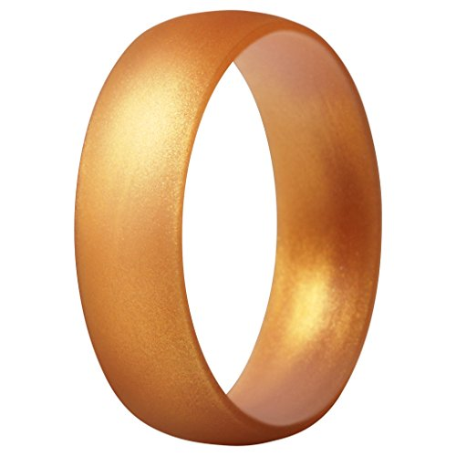 ThunderFit Silicone Ring Wedding Band for Men & Women - 1 Ring (Gold, 9.5-10 (19.8mm))