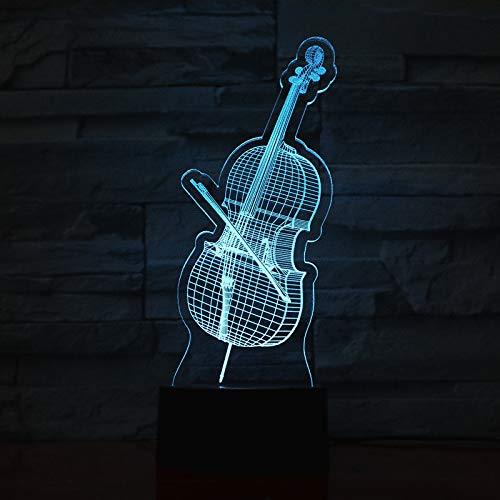 3D illusie lampen LED viool nachtverlichting USB 7 kleuren sensor bureaulamp voor slaapkamer kantoor kinderkamer decoratie licht