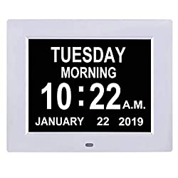 TMC [Newest Version Digital Calendar Day Clock -Extra Large Impaired Vision Memory Loss Clock with 12 Alarm Options for Seniors, Elderly, Dementia, Alzheimer (8-inch,White)