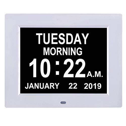 TMC [Newest Version] Digital Calendar Day Clock -Extra Large Impaired Vision Memory Loss Clock with 12 Alarm Options for Seniors, Elderly, Dementia, Alzheimer (8-inch)