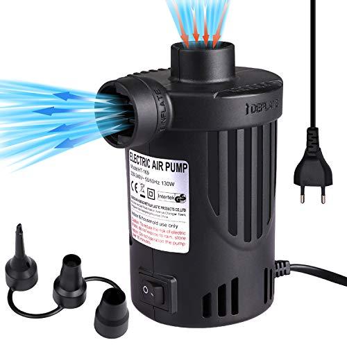 etship Bomba de aire Eléctrica 2 en 1, Bomba de Aire Eléctrica, AC 240 V/130 W, Bomba Eléctrica para Colchón de Aire con 3 Boquillas de Aire, para Camas de Aire, Sofá, Barcos, Juguetes de Piscina