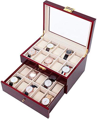 Inicio Accesorios Exhibición de relojes Caja de almacenamiento Caja de reloj Cajonera con servicio de valet para hombres Caja organizadora de reloj de madera maciza con 20 ranuras Funda de vidrio F