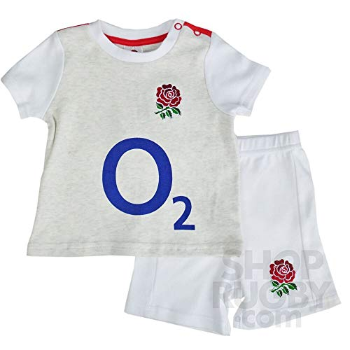 Babybekleidung, England R.F.U Rugby, Saison 2016/17, T-Shirt und Shorts, erhältlich in allen Größen Gr. 18-23 Monate, weiß