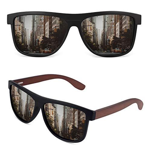 GQUEEN Sonnenbrille Herren Polarisiert Sonnenbrille Holz Herren Damen MOS07
