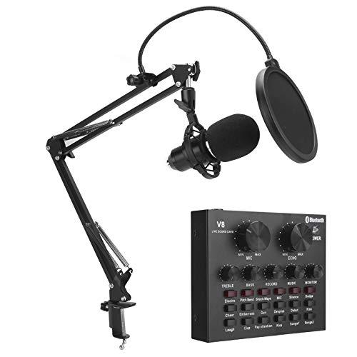 CUTULAMO Juego De Micrófono De Grabación, Juego De Micrófono De Condensador Profesional para Equipo De Transmisión En Vivo para Transmisión En Vivo