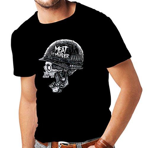 lepni.me Camisetas Hombre La Carne es un Asesinato - Cosecha 80s Vegetariana, diseño Vegano (Small Negro Multicolor)