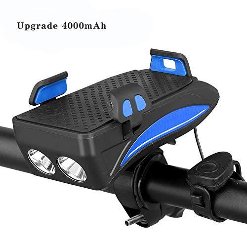 4 Función USB Recargable Bici Delantero Juego De Luces, Soporte Para Teléfono Móvil A Prueba De Golpes Con El Banco De La Energía 4000Mah, Ciclismo Cuerno De Seguridad Noche (Segunda Generación),Azul