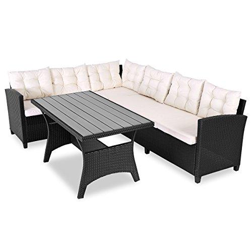 Deuba Poly Rattan Sitzgruppe Ecklounge Lissabon 7cm Auflagen WPC Garten Tisch 340cm Sitzfläche Sitzgarnitur Eckbank - Schwarz