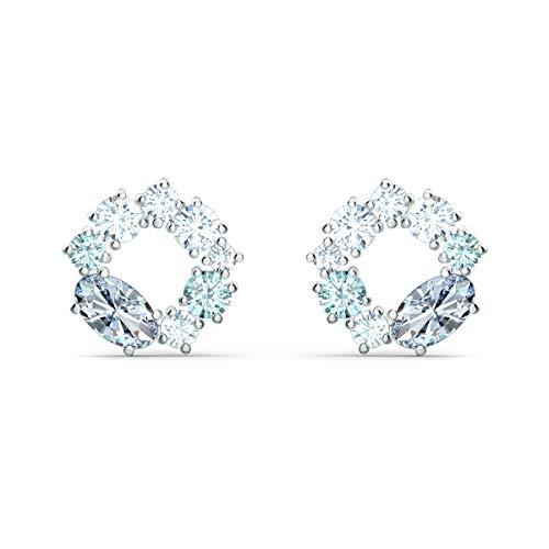 Swarovski Attract Circle Ohrstecker, Rhodinierte Ohrringe mit Weißen, Grauen und Hellblauen Swarovski Kristallen