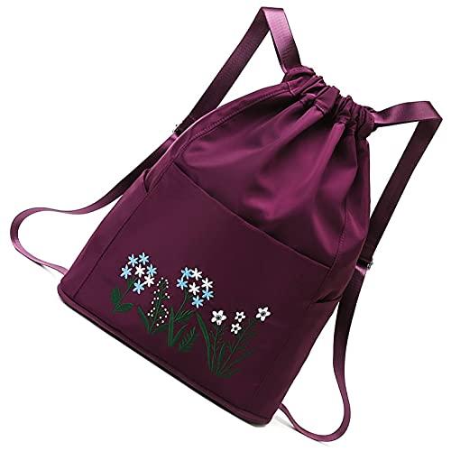 Portable Women Drawstring Backpack,Sport Gym Sack Drawstring Bag,with Outside Zipper,Waterproof Wide Straps (dark purple)