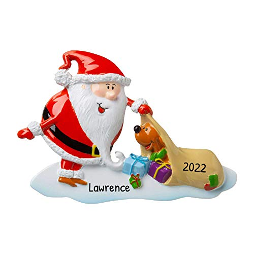 Personalized Santa with Dog Christmas Tree Ornament 2020 - Fun Surprise Humor Brown Puppy Play Holiday Love Kid Friend Winter-Wonderland Modern Designer Gift Present Cute - Free Customization