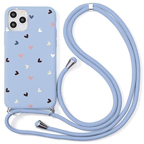 ZhuoFan Funda con Cuerda para Huawei P20 Lite Carcasa Púrpura Silicona Dibujos Case con Correa Colgante Ajustable Collar Correa de Cuello Cadena Cordón para Huawei P20 Lite Cuerda 5,84' - Amor