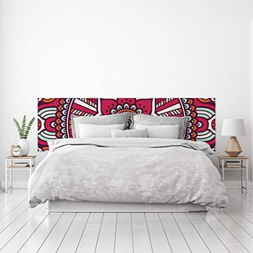 MEGADECOR Cabecero Cama PVC Decorativo Económico Diseño Abstracto Mandala Rojo Blanco Verde Varias Medidas (150 cm x 60 cm)