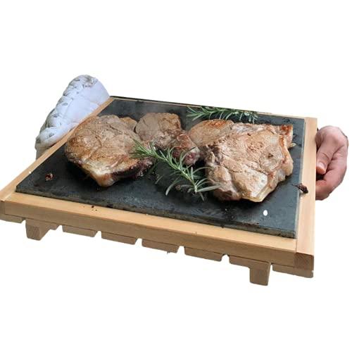 Pietra Lavica Siciliana 38x30x1,5CM, Con Supporto Legno Faggio, Estraibile, Piastra Refrattaria per Cucinare