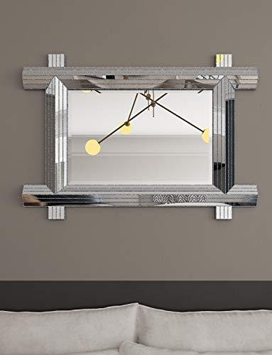Modern Geometric Wall Mirror Art Silver Mirror for Bathroom, Bedroom, Living, Dining -
