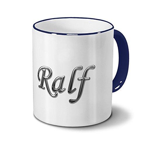 Tasse mit Namen Ralf - Motiv Chrom-Schriftzug - Namenstasse, Kaffeebecher, Mug, Becher, Kaffeetasse - Farbe Blau