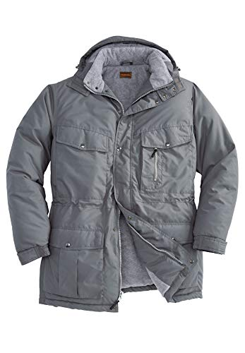 Boulder Creek by Kingsize Men's Big & Tall Fleece-Lined Parka with Detachable Hood and 6 Pockets - Big - 3XL, Steel Coat