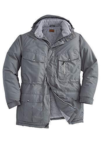 Boulder Creek by Kingsize Men's Big & Tall Fleece-Lined Parka with Detachable Hood and 6 Pockets - Big - 3XL, Steel Coat