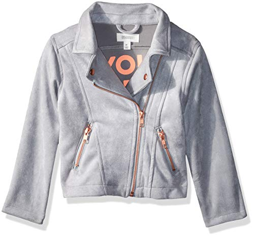 Gymboree Girls' Big Leather Moto Jacket, Grey You are Magic, 3T