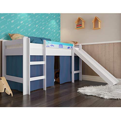 Cama elevada com escorregador Completa - Azul