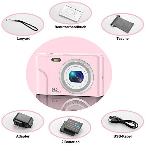 CLUINIGO Digitalkameras, FHD 1080P 36MP Pocket Vlogging Vidio Foto Kompaktkamera für YouTube mit 16-fachem Digitalzoom, 2,4-Zoll-LCD-Bildschirm für Kinder Senioren Anfänger Reise Rosa (2 Batterien)