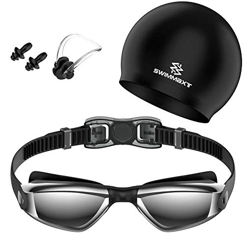 Swimmaxt Swimming Goggles + Nose Clip + Ear Plugs, Anti Fog UV Protection for Adult Men Women Youth Kids Child (Pro-Black)
