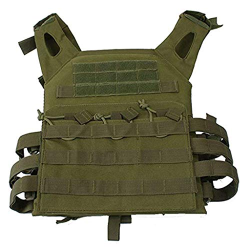 BYHai Tactical CS Field Assault Vest Law Enforcement Breathable Combat Training Vest Nylon Adjustable for Unisex Adults (Green)