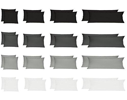 Wasserbetten-Markenshop Renforcé Kissenbezug, Kissenbezüge, Kissenhüllen für Seitenschläferkissen im Doppelpack 100% Baumwolle 40x145 cm Grau