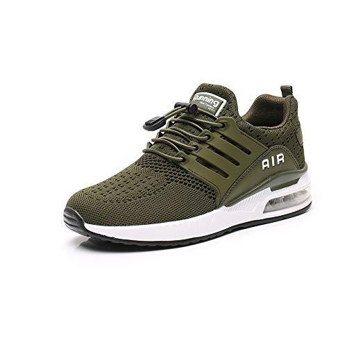 Zapatillas Deporte Hombre Zapatos para Correr Athletic Cordones Hombre Aire Libre y Deporte Transpirables Casual Zapatos Gimnasio Correr Sneakers Green 37