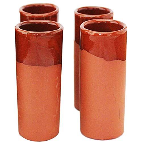 Acan Set de 4 Vaso de Tubo Echo en Barro 320 CC 17 x 6 cm