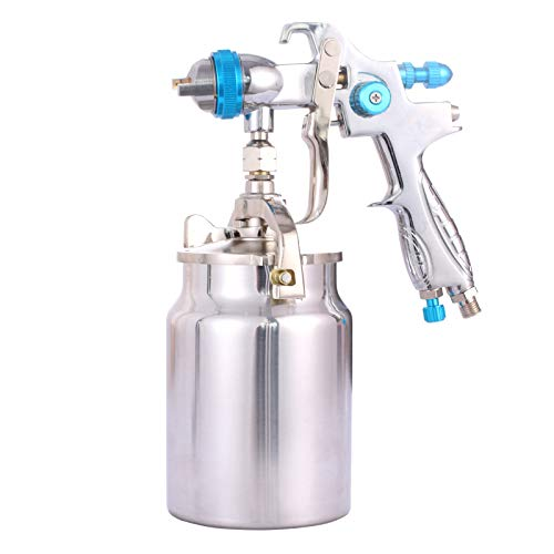 Professional HVLP Siphon Feed Spray Gun -1000cc Non-drip Paint Cup with Nozzle Tip Size 1.7mm