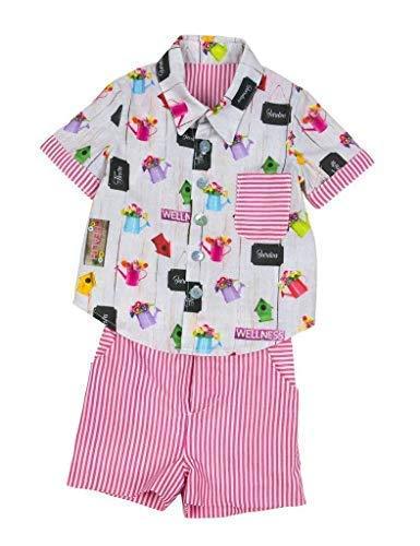 MI HIJA Y YO Camisa y Pantalón de Popelin y Vichy Modelo Playa para Bebé (de 6 a 24 Meses) - Hecho a Mano - Colección Terramar - Superior