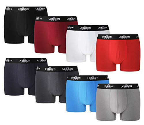 FM London Fitted Boxer, Multicolor (Classic Mix 10), Large (Pack de 8) para Hombre