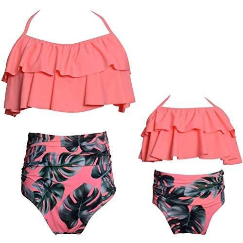 CHIYEEE Mädchen 2 Stück Bikini Set Eltern-Kind-Badeanzüge Vintage Schulterfrei Volant Familie Passende Monokini Hohe Taille Damen Badeanzüge 116