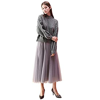Chicwish Women s Grey Layered Mesh Ballet Prom Party Tulle Tutu A-Line Maxi Skirt Grey Small/Medium