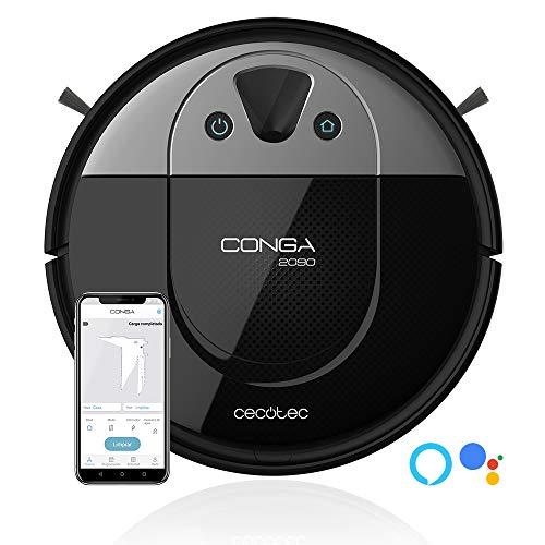 Cecotec Conga 2090 Vision. Robot Aspirador con tecnología iTech Camara 360, friega, aspira y Barre a la Vez,App con Mapa Interactivo, Limpieza puntual y de áreas,2700 Pa, Alexa & Google Assistant.